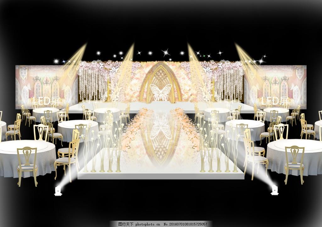 婚礼手绘图psd分层 效果图 樱花 蝴蝶 龙珠灯 背景花墙 座椅