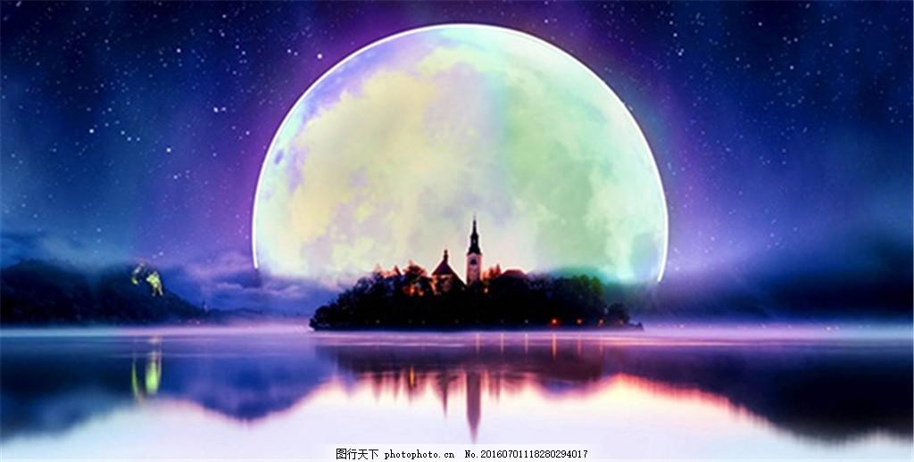 蓝色月光侦探礹.+y��_赏月 水面 唯美风景 星空 夜空 夜色 夜晚 月光 月亮 psd 蓝色