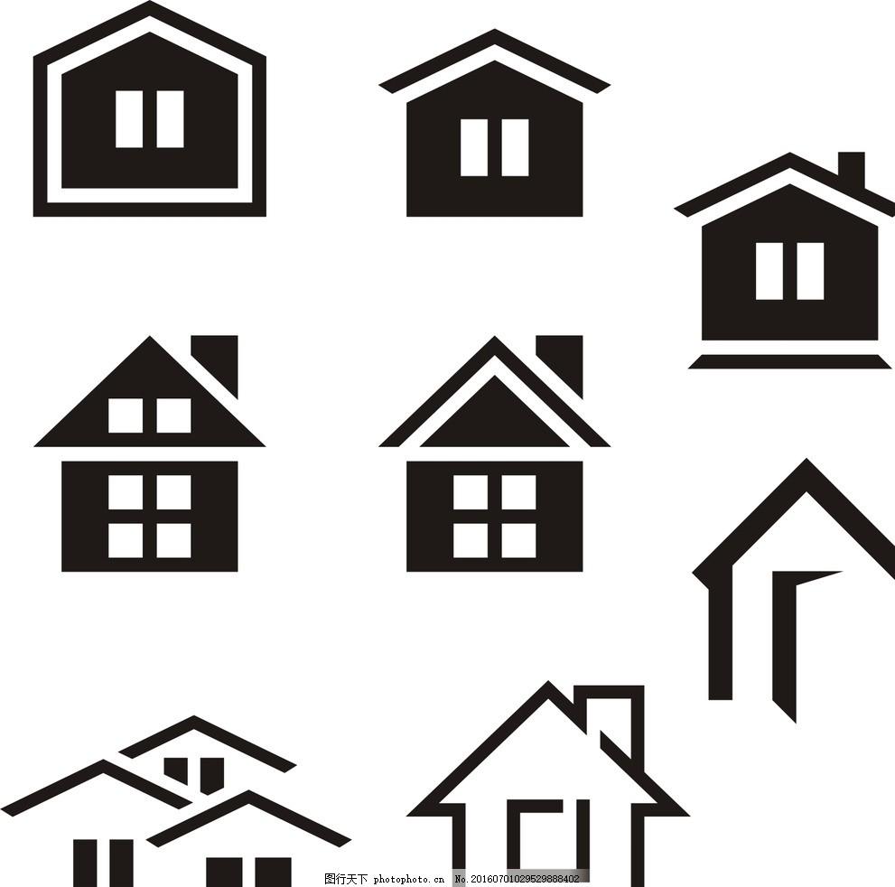 黑色 剪影素材 时尚 线条 矢量素材 素材 黑白剪影 矢量剪影素材 房子