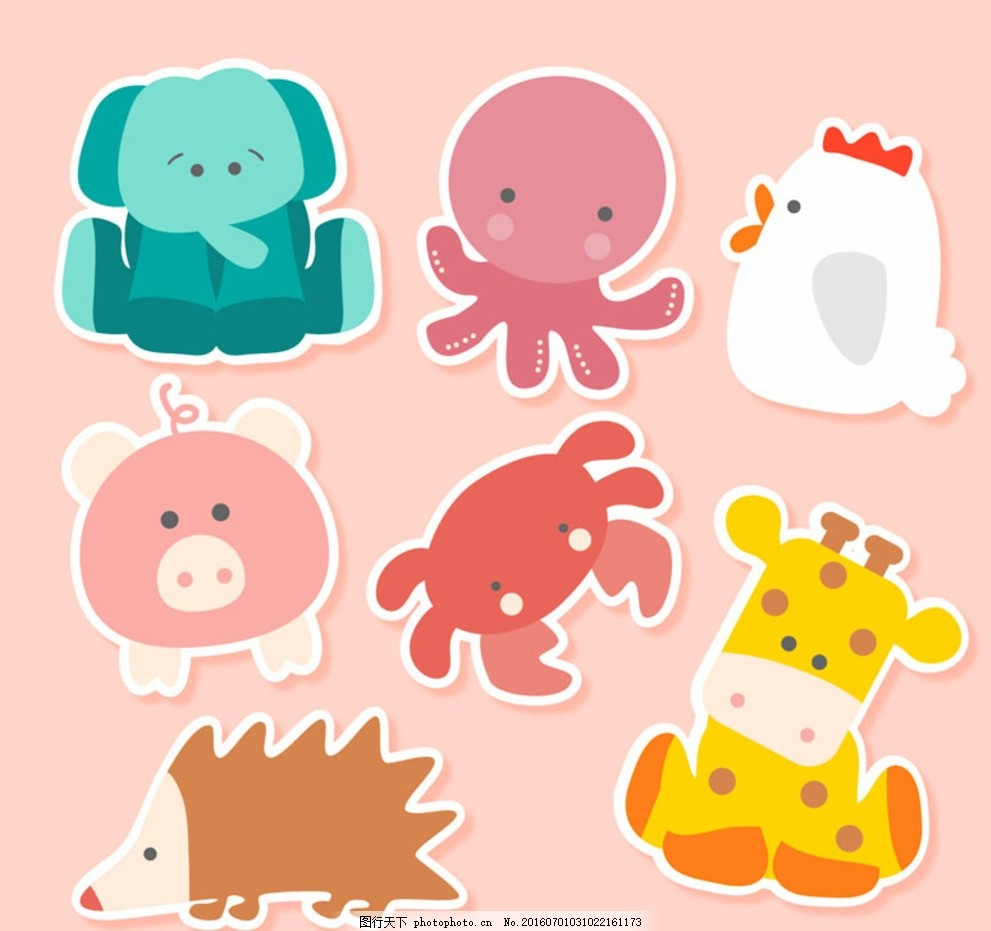 可爱动物贴纸 大象 章鱼 公鸡 猪 螃蟹 长颈鹿 刺猬 动物 贴纸 卡通
