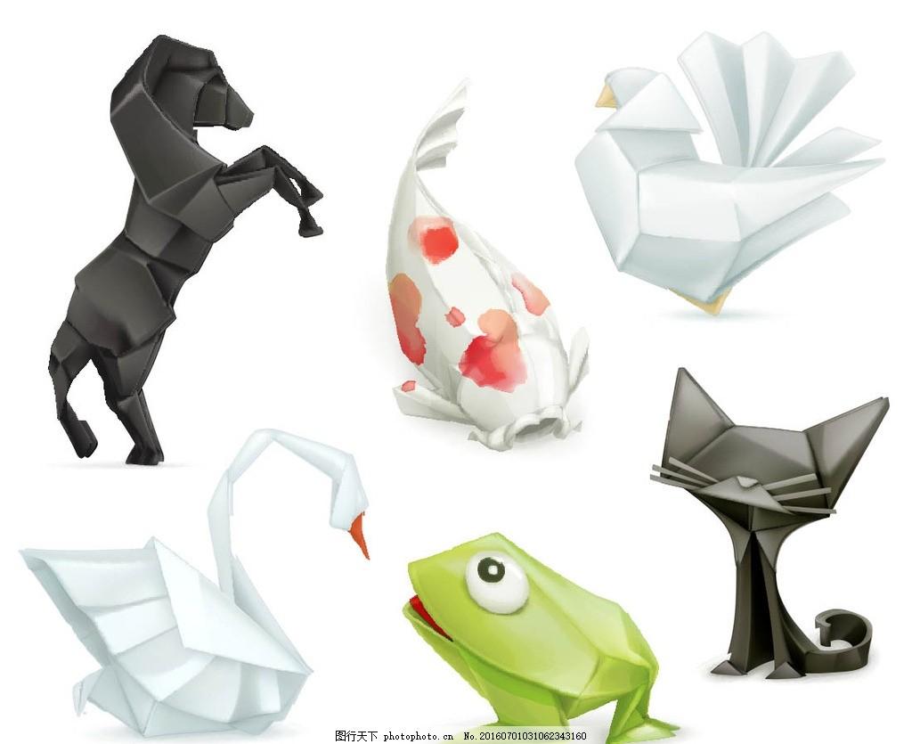 卡通折纸动物