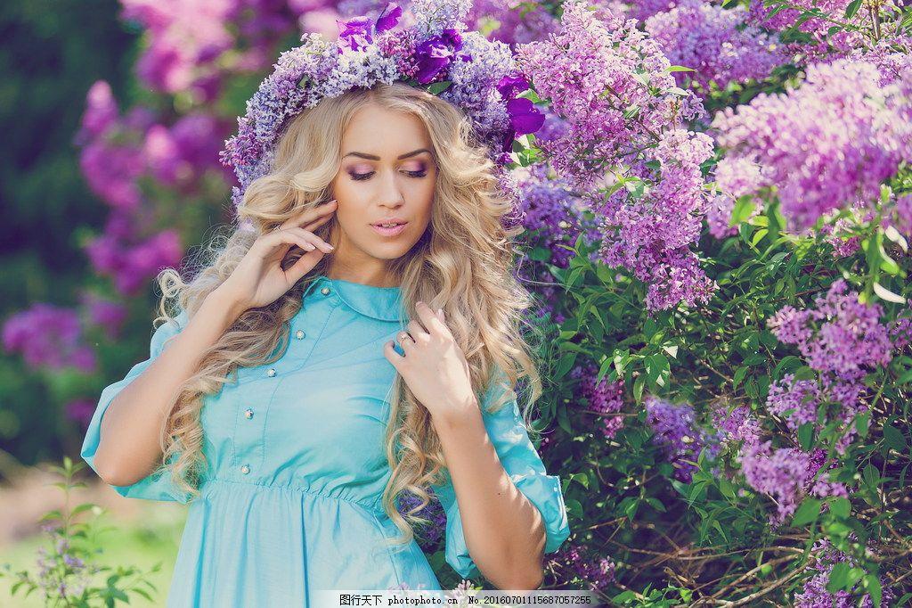 高清唯美美女图片素材下载 森系风 唯美森女 欧美深 花环 鲜花