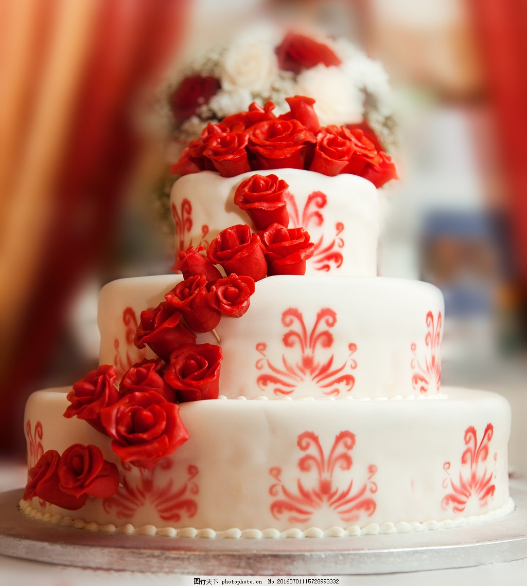 玫瑰花婚礼蛋糕高清图片图片
