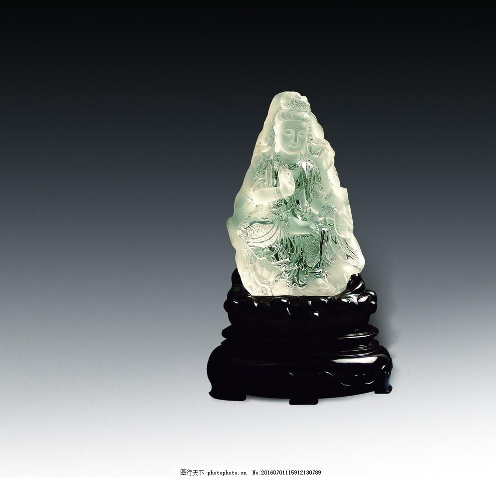 观音坐禅 水晶 观音 禅 珠宝 雕刻 摆件 翡翠艺术 抛光 玉雕创意鉴赏