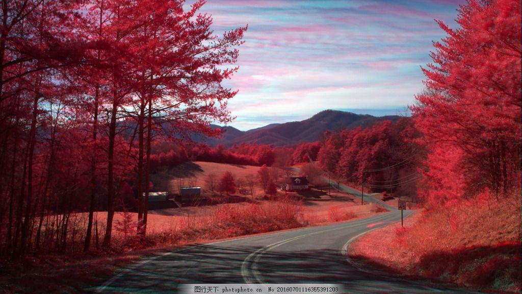 调唯美意境图片素材 红色 马路 树木 天空 大自然