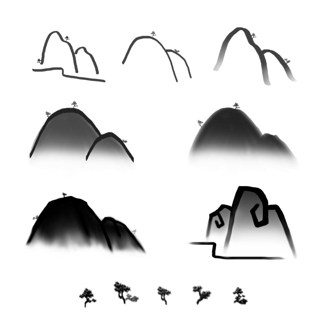 水墨山素材 山脉 树 简笔画 简约 中国风 装饰 插画
