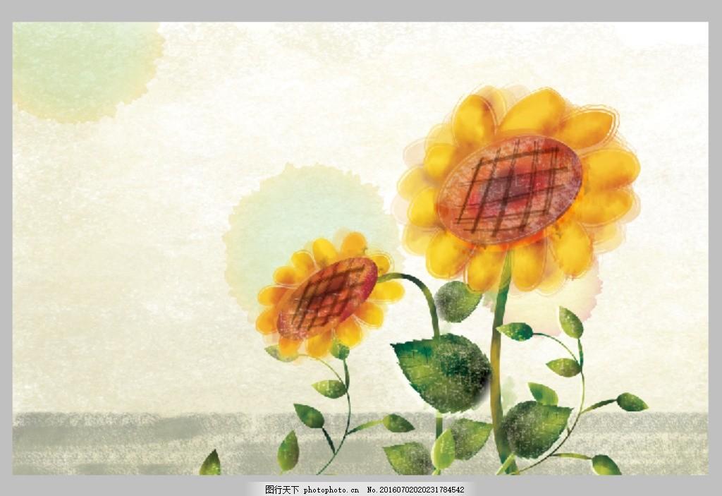韩国手绘向日葵插画 唯美 淡雅 米色 墨迹 插图 太阳花
