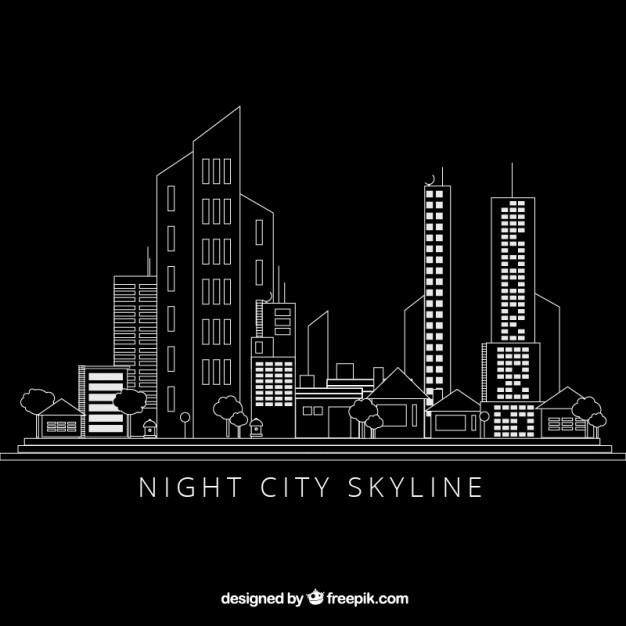 手绘现代城市黑色背景 房子 一方面 建筑 线 扁平 黑色的背景