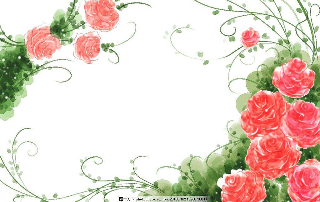 韩式小清新手绘背景花卉
