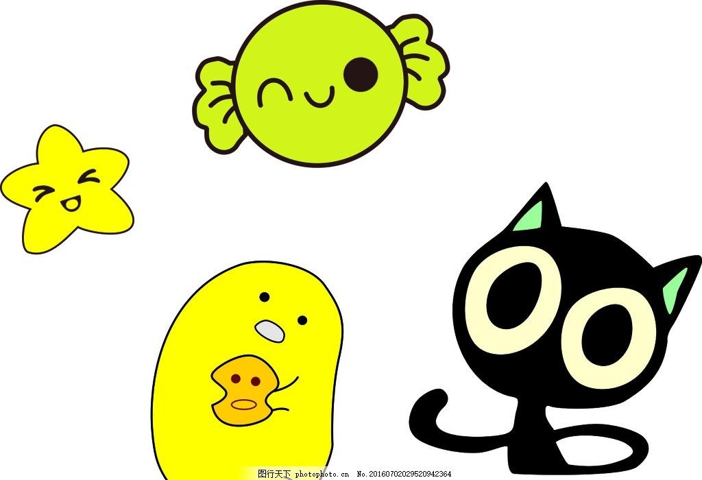 五角星 卡通五角星 糖果 卡通糖果 绿色糖果 矢量糖果 卡通小猫咪