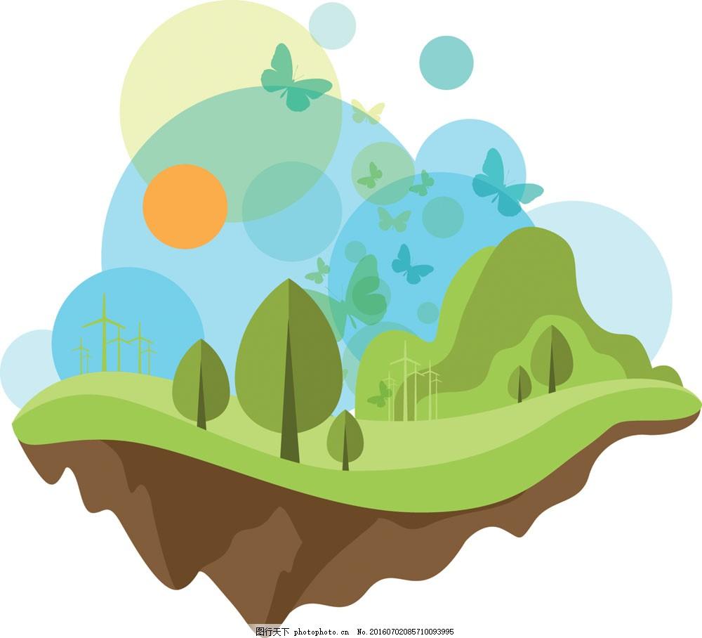 提倡环保的海报模板下载 绿色环保 统计图表 时尚 创意 网页 信息