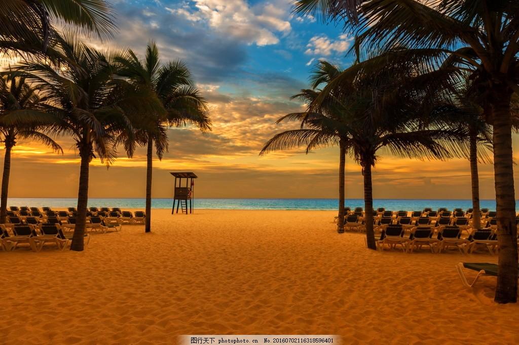 黄昏海滩风景图片,黄昏海滩风景高清图片下载 椰子树