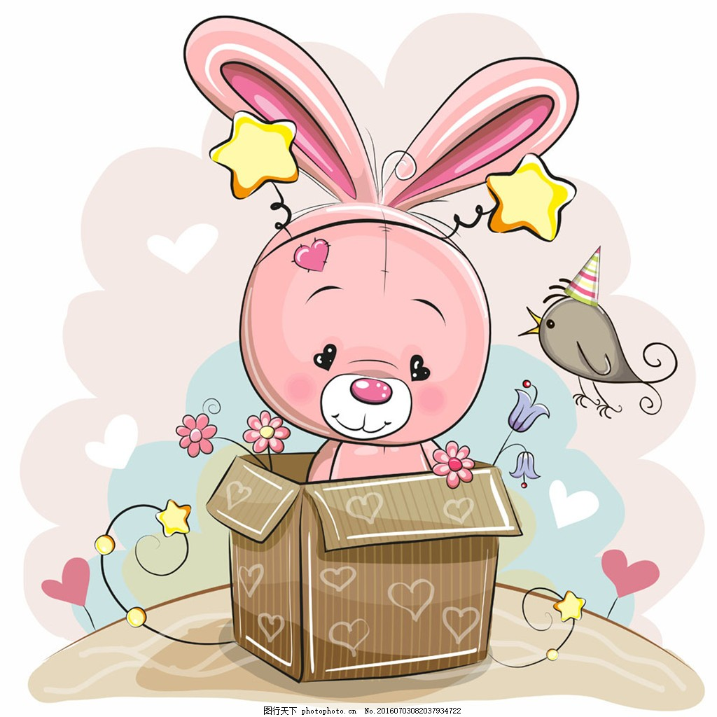 礼物盒的小熊 礼物盒 粉色 小熊 爱心 小清新 小鸟