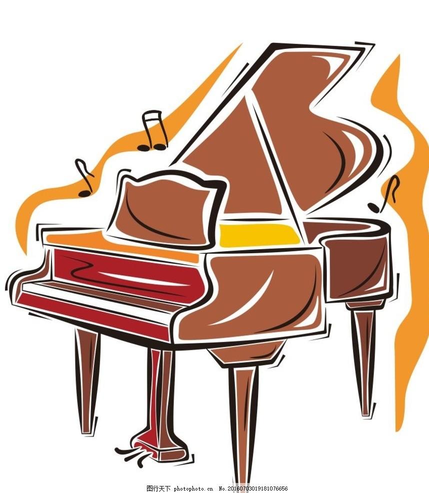 卡通钢琴 西洋乐器 音乐 演奏器具 简笔画 线条 线描 简画 黑白画