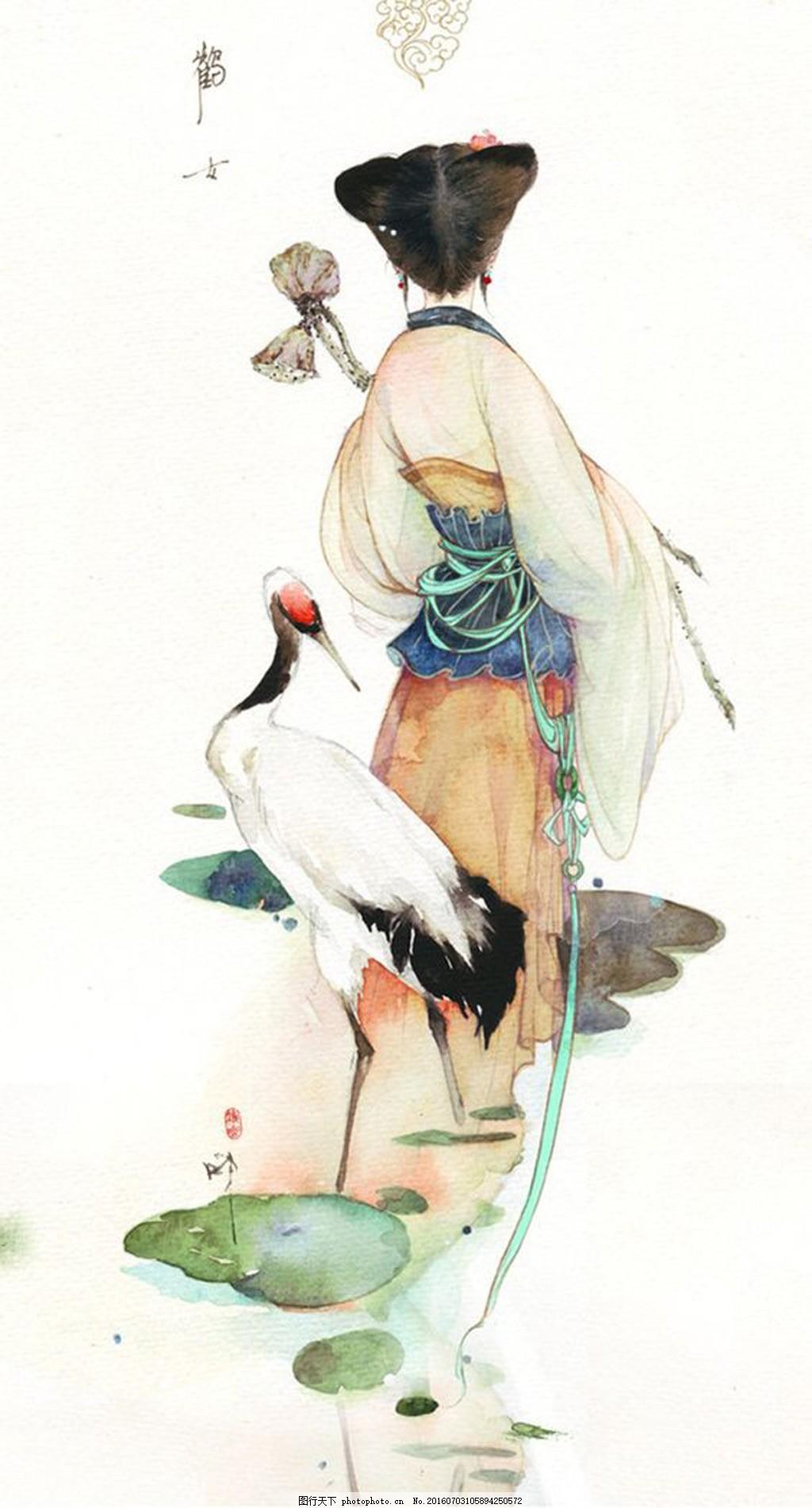 中国风水彩 人物 动物 仙鹤 古典 白色