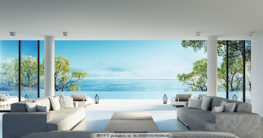 唯美 炫酷 浪漫 简洁 简约 欧式      白色系 白沙发 海景房 设计图片
