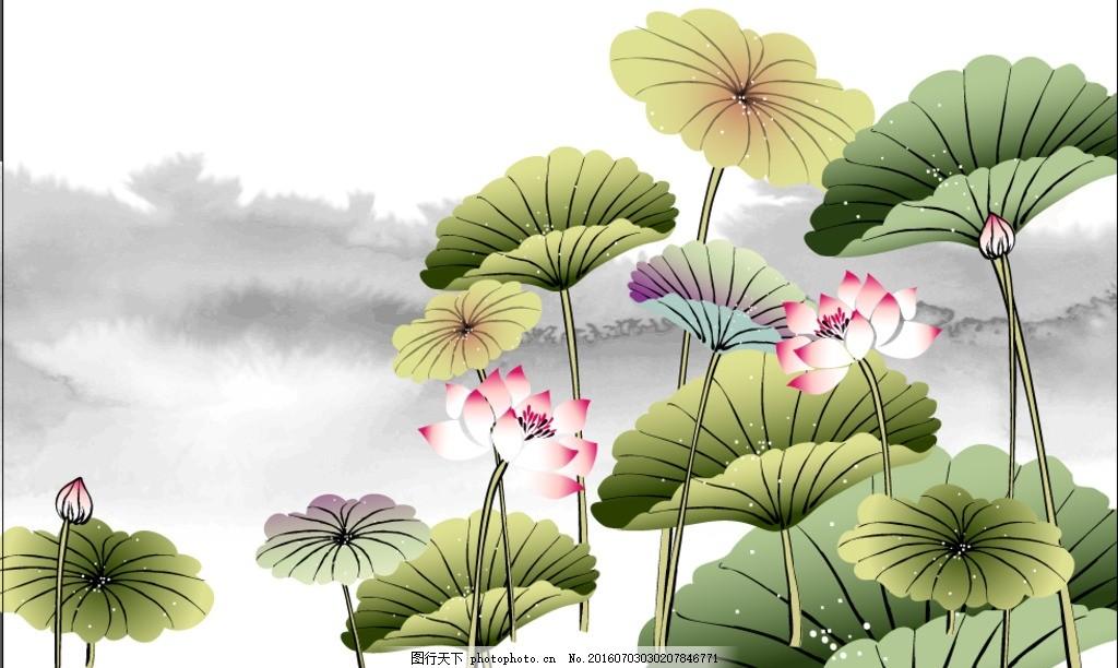 水墨荷花 山水画 荷叶 荷花 中国画 传统画 设计 广告设计 展板模板