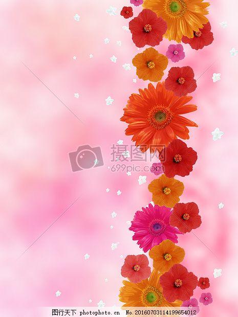 点缀着小花的背景图 抽象 红色 浪漫 节日 花朵 粉色 橘红 橘黄
