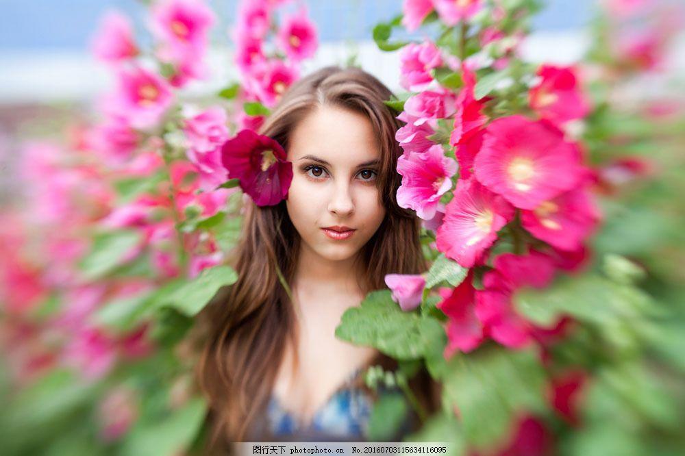 花丛中的女人图片