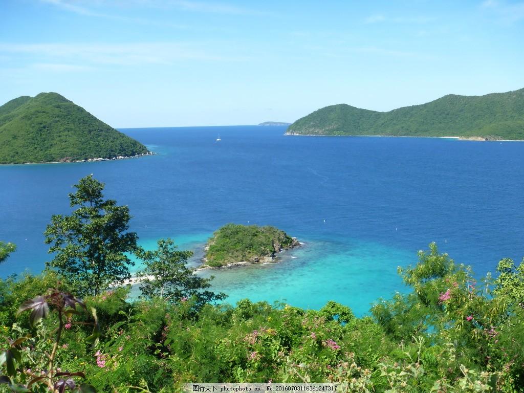 高清加勒比海岛屿 加勒比风景 大海景观 海面景观 绿树 植物 植被