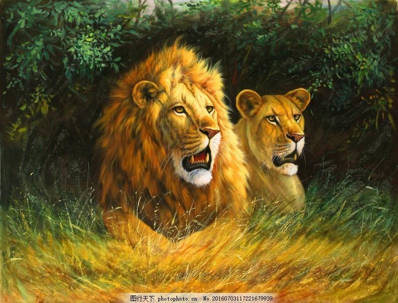 动物无框油画