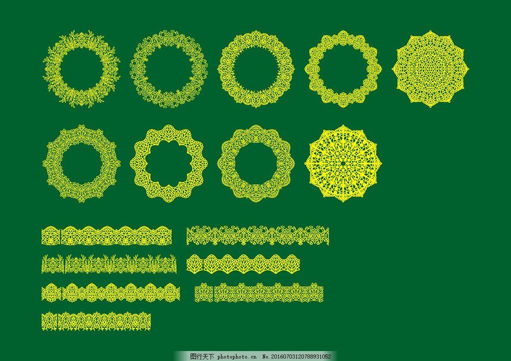 蕾丝花纹图案 圆形花纹 欧式花纹边框 矢量花纹 印花矢量图 绿色