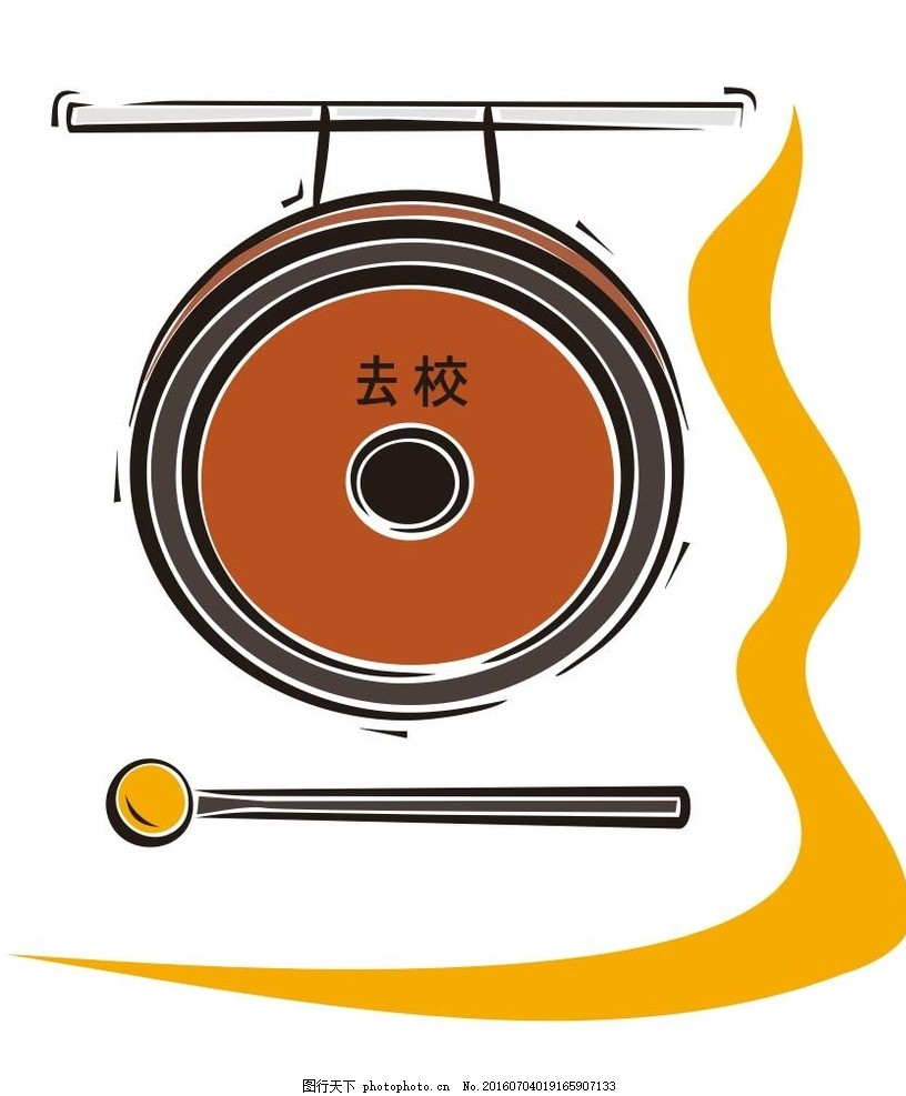 锣 西洋乐器 乐器 音乐 演奏器具 简笔画 线条 线描 简画 黑白画 卡通-音
