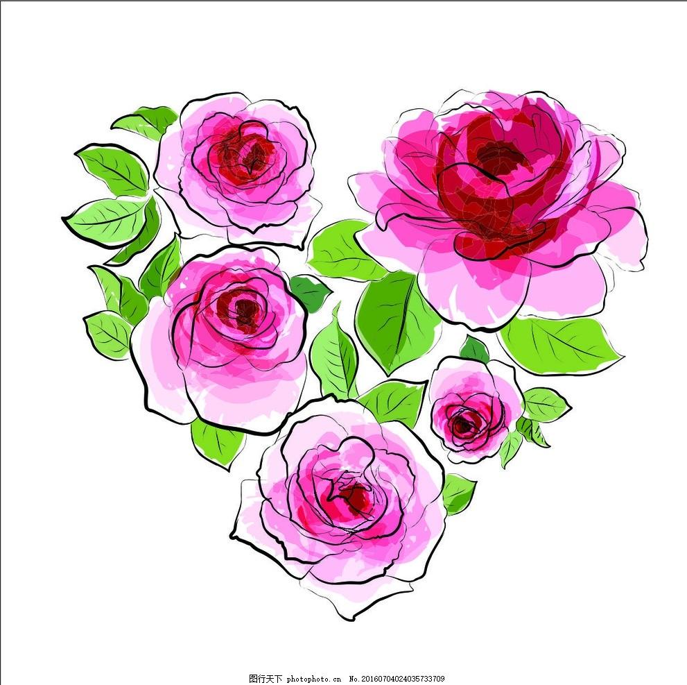 玫瑰花 爱心 花 手绘 水 彩 手绘 设计 自然景观 自然风光 eps