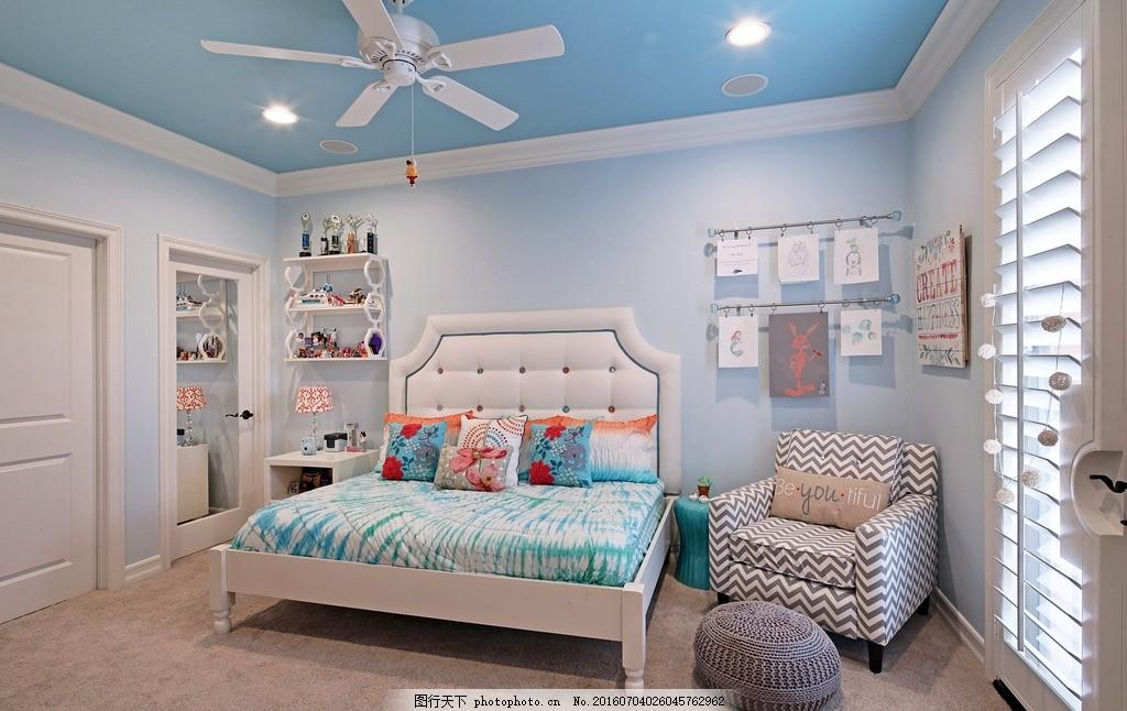 睡房效果图简欧 墙纸 壁纸 室内装修 白色床 书桌 床头柜 孩子房