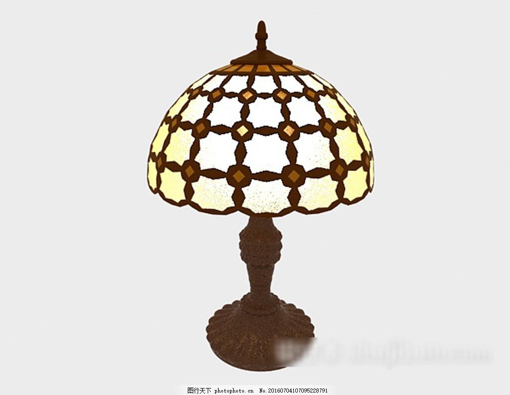 中式复古木质台灯3d模型下载,现代风格模型 欧式风格