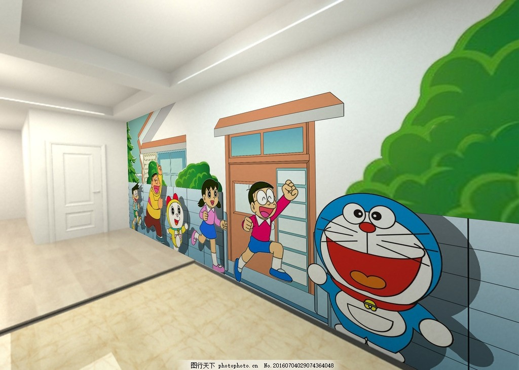 哆啦a梦墙体彩绘画面(平面图) 手绘 卡通 家装 工装 酒店 主题酒店
