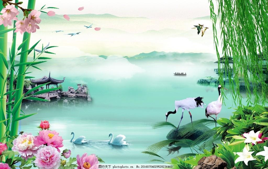 风景壁画墙纸 模版下载 壁纸 墙画 厅堂画 大厅画 大型壁画 野外风景