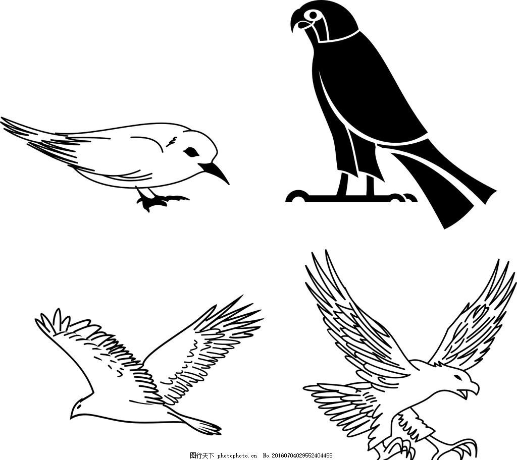矢量简笔画 小鸟简笔画 素描小鸟 线条小鸟 麻雀 矢量麻雀 燕子 矢量