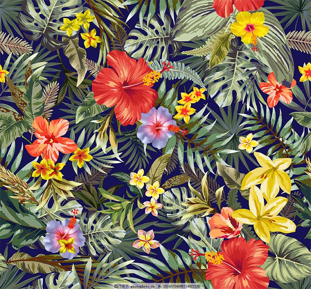 热带花四方连续图案 热带花 椰子树 棕榈叶 叶子 热带植物 植物 热带