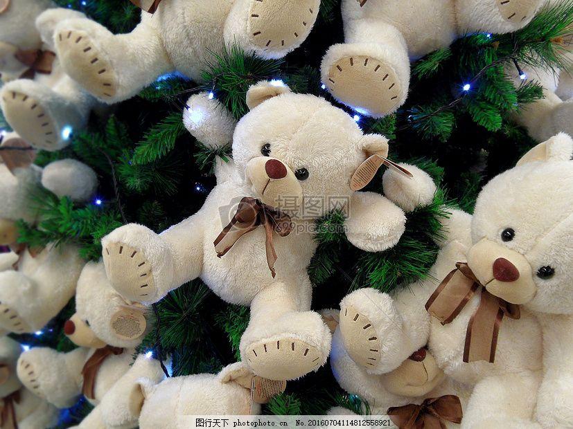 可爱的小熊玩具 毛绒玩具 眼睛 蝴蝶结 红色