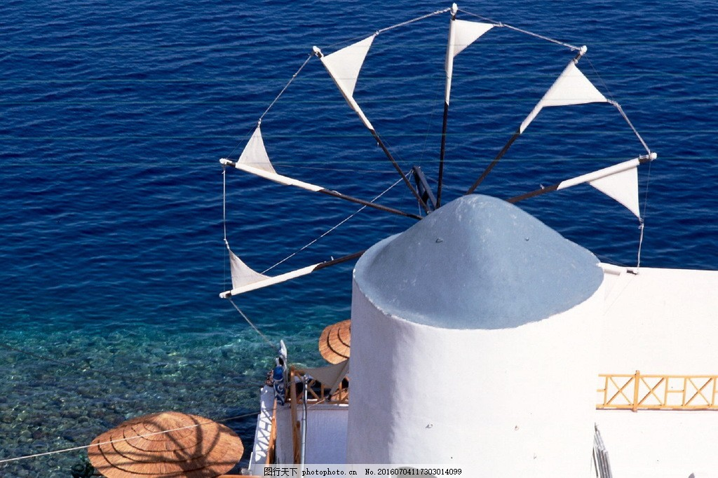 唯美希腊爱琴海风景图片素材下载 希腊 圣托里尼岛 白色建筑 大海