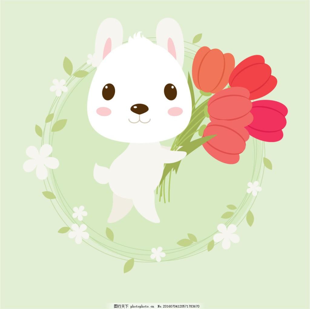 可爱小白兔 可爱卡通小白兔插画 卡通兔子插画 花环里的兔子 呆萌漫画