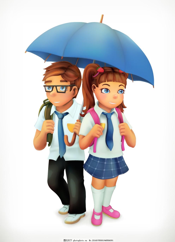 上学的孩子 卡通 打伞 可爱 学生
