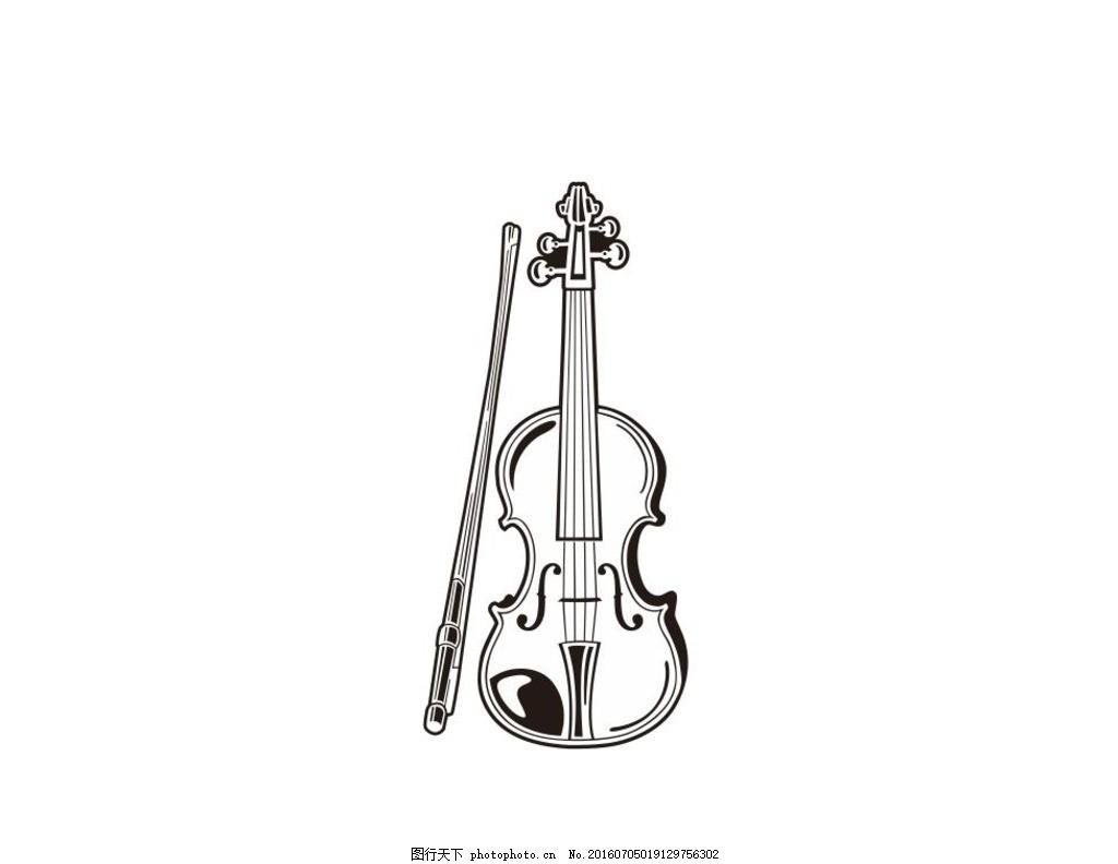 乐器 音乐 演奏器具 简笔画 线条 线描 简画 黑白画 卡通 手绘 简单