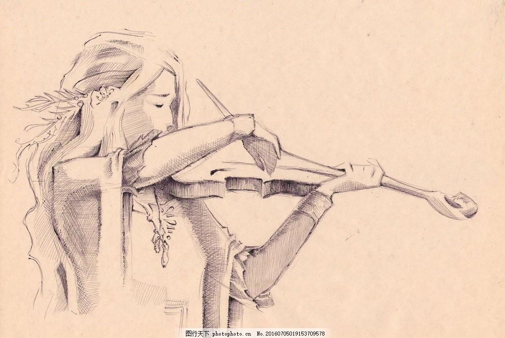 音乐美女 唯美人物 铅笔画 手绘 人物画 唯美 手绘美女 拉小提琴 女生