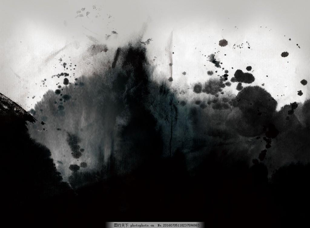 水墨背景图 中国风 古典 水墨 飞墨 笔刷 黑色 渐变 毛笔 笔墨 黑色背