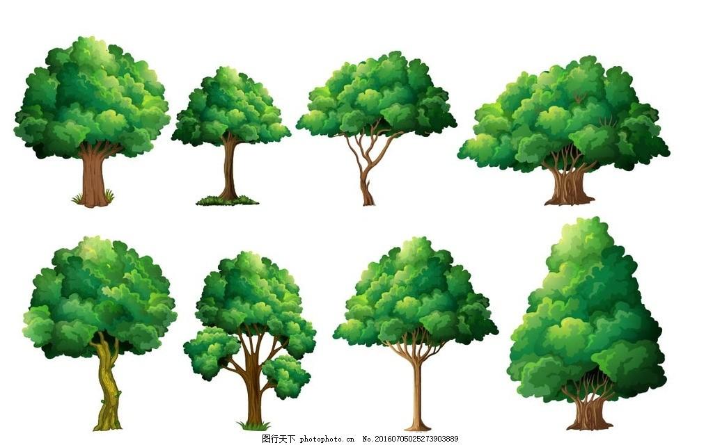 树木 通素材 可爱 手绘素材 儿童素材 幼儿园素材 卡通装饰素材