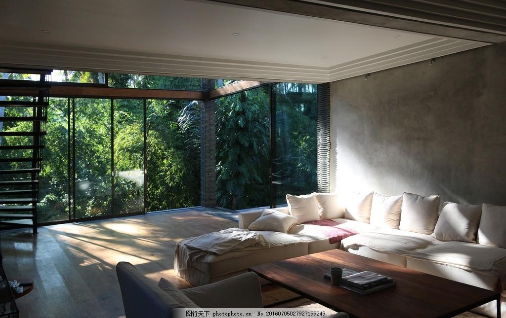 建筑园林 别墅 豪宅 沙发 落地窗 竹子 摄影 环境园艺 别墅花园 时尚