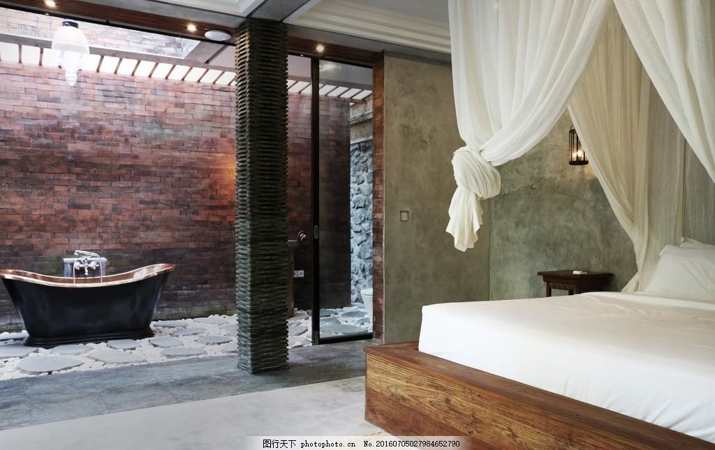 园林别墅浴缸 床 砖墙 建筑园林 豪宅 摄影 环境园艺 别墅花园