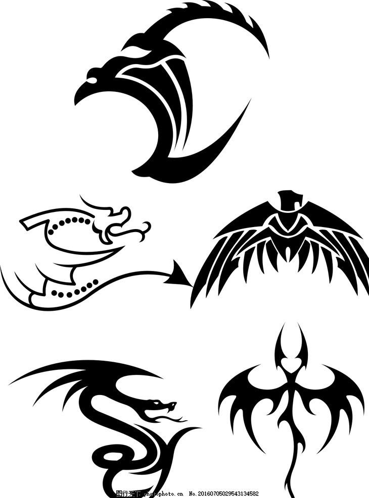 古代动物 抽象龙 影 矢量 黑色 线条 矢量素材 图标 黑白剪影