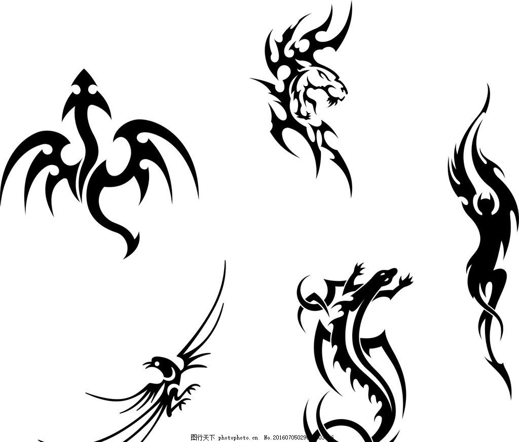 飞龙 龙素材 龙剪影 龙剪纸 矢量龙 黑白龙 喜鹊 矢量喜鹊 喜鹊素材