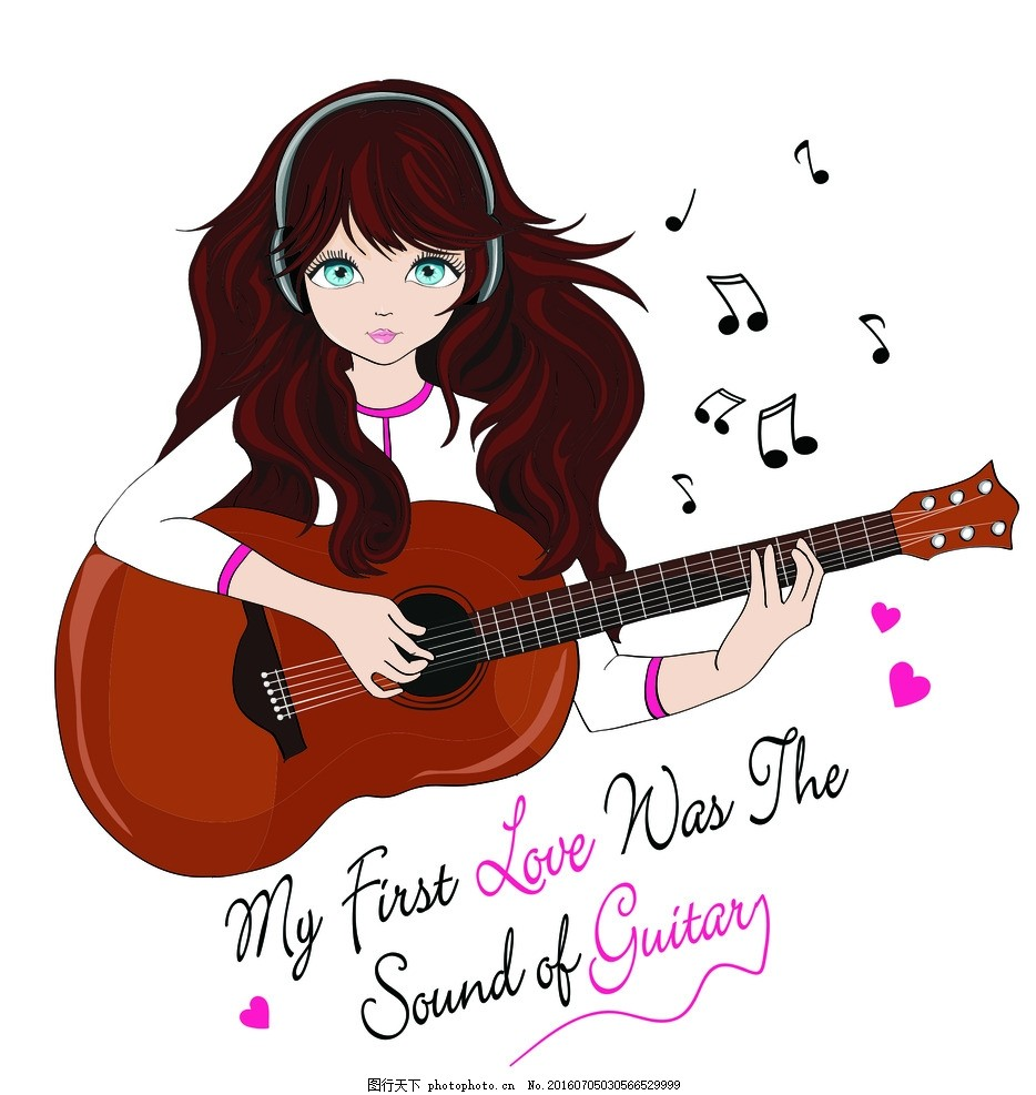 卡通美女 漫画 女性 插画 女性插图 卡通人物漫画 人物插画 弹吉他