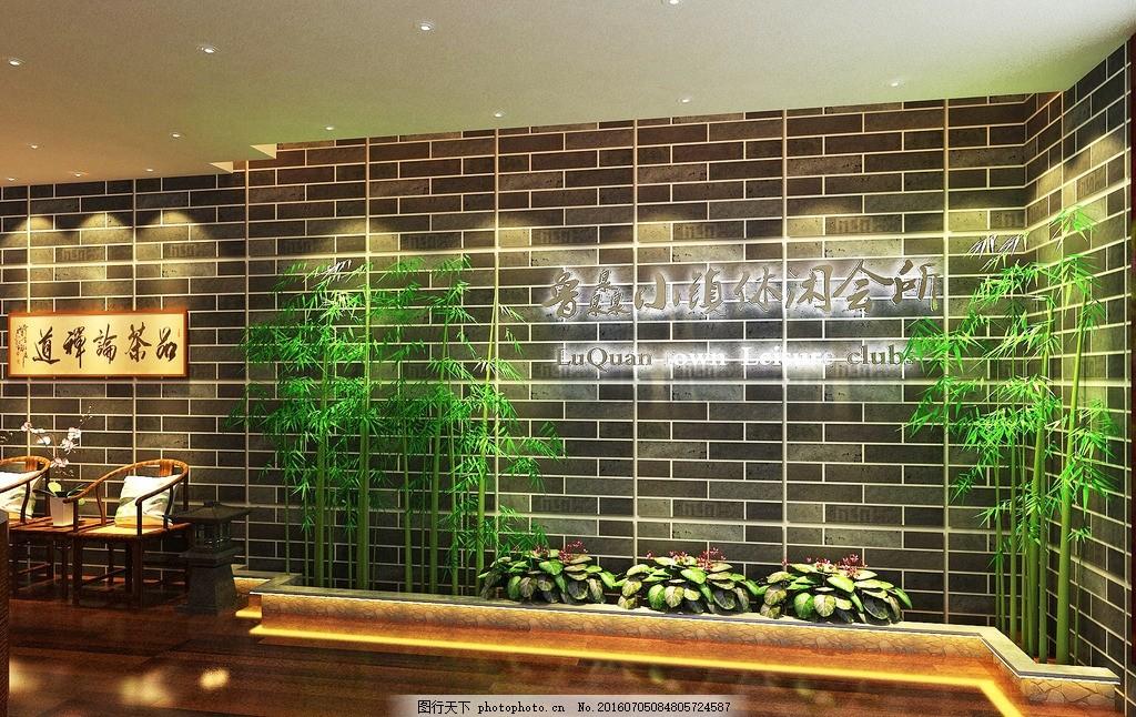 会所 玄关 小景 竹子 灯光 环境设计 室内设计