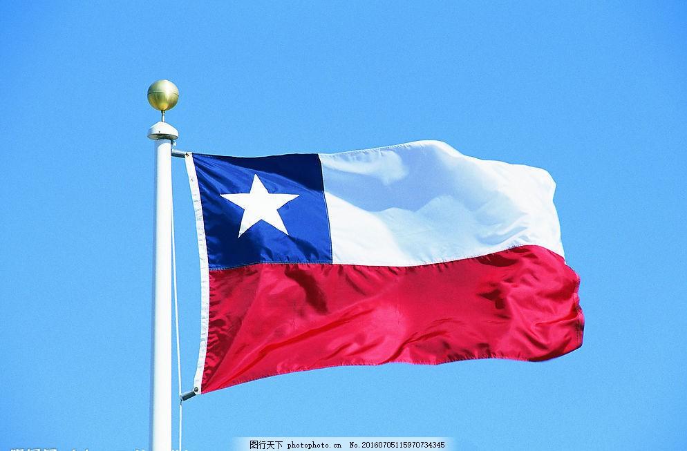 智利国旗 旗帜 飘扬 旗杆 天空 文化艺术 其他 摄影图库 72dpi jpg