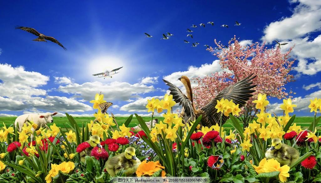 美丽的鸟语花香风景图片